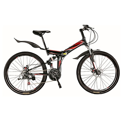 "Cheapest Price! Xspec 26"" 21 Speed Folding Mountain Bike Bicycle Trail Commuter Shimano Black"