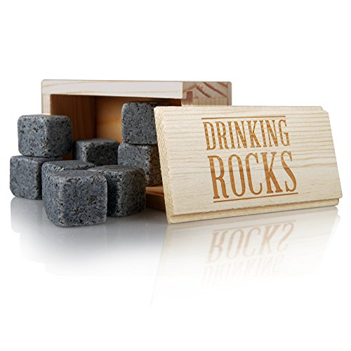 Whiskey Stones Gift Set. Best Performing Granite Drink Rocks. Great Chilling Quality. Keep Your Beverage Cool For Longer With No Dilution. Perfect Gift For Any Occasion. Set Of 8. (Whiskey Barrel Trash Can compare prices)