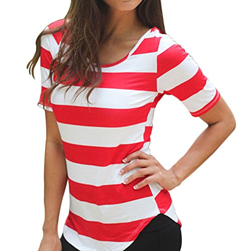 FUNOC® Women Navy Style Casual Striped Shirt Loose Vest Girl Tee Tops Blouse (Red)