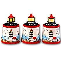 Lighthouse Faro Nautical Ceramic Kitchen Storage Jar 3 Pc Canister Set - Sugar - Coffee - Tea