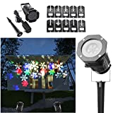 Halloween Lights by Ucharge Rotating Projection Led Lights Snowflake Spotlight, 10PCS Pattern Lens Led Christmas Projector Light Show Waterproof for Landscape, Wall, Christmas Decoration, Multi