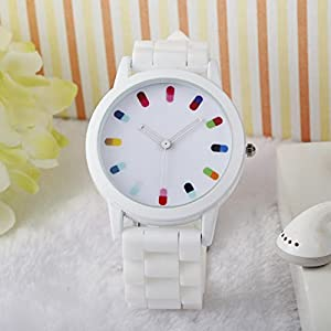 Women Ladies Clourful Dots Silicone Unisex Unisex Quartz Watch JJC001-White
