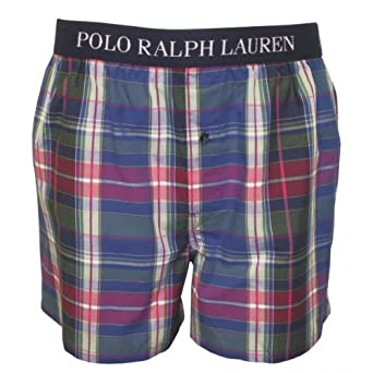 Polo Ralph Lauren Moss Plaid Woven Boxer Shorts, Multi Size: X-Large