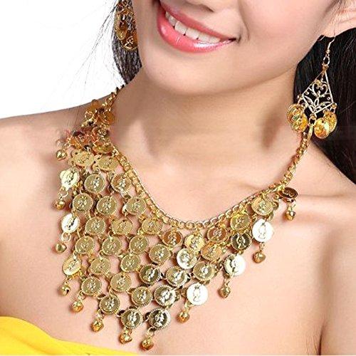 BellyLady Belly Dance Gypsy Jewelry, Gold Necklace & Earrings, Gift Idea