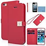 iPhone 5 case,iPhone 5S case,by Ailun,Wallet case,PU leather case,credit card holder,Flip Cover Skin[Red] with screen protect and styli pen