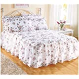 The Bettersleep Company Traditional Quilted Fitted Bedspread & Pillowsham Set Rose Garden (Single)