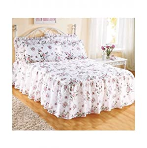 The Bettersleep Company Traditional Quilted Fitted Bedspread & Pillowsham Set Rose Garden (Double)