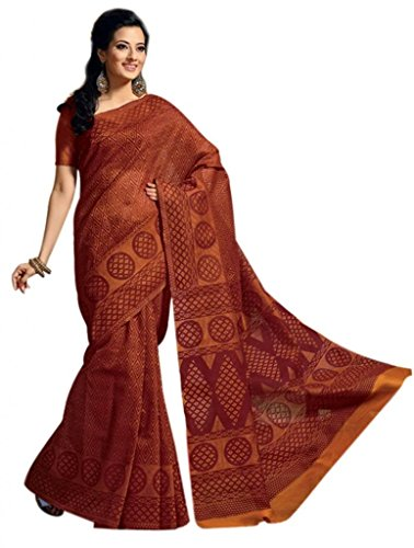 101 Cart fashion Printed Cotton Saree With Blouse in Brown [KS349] (multicolor)