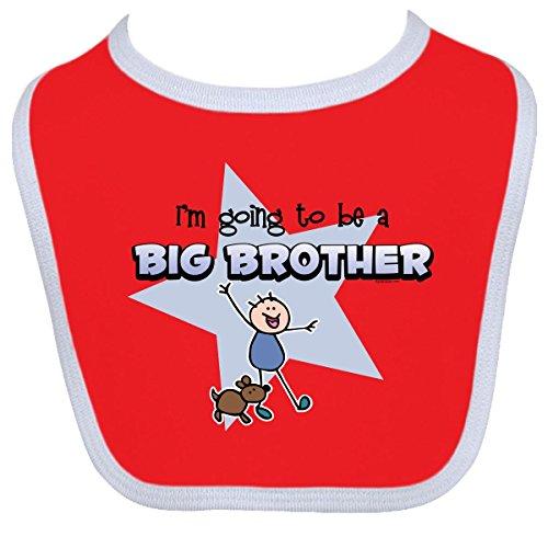 Inktastic Baby Boysâ€Tm Stick Boy Future Big Brother Baby Bib One Size Red/White front-1056818