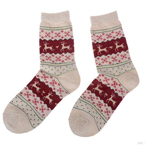 Womens-Winter-Xmas-Cute-Santa-Deer-Snowflake-Design-Warm-Wool-Sock-Christmas-Gift