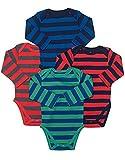 Leveret Long Sleeve 4-pack Striped Baby Boys Bodysuit 100% Cotton (Size 0-24)