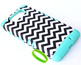 Cellphone Trendz High Impact Hybrid Rocker Case for Motorola Droid Maxx XT1080M / Droid Ultra XT1080 - Teal Silicone with Chevron Hard Shell
