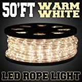 50ft Warm White 2-wire LED Rope Light Home Outdoor Boat Christmas Lighting 110v