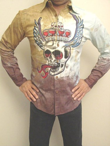 Buy Tattoo Art Winged Skull with Crown and Metal Studs Shirt Long Sleeve