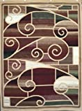 Generations Brand New Contemporary Brown and Beige Modern Square and Circles Area Rug 2 x 7'6