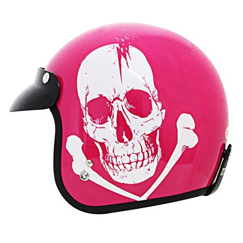 Outlaw Skull Pink Motorcycle Open Face Helmet - Small (Pink Open Face Motorcycle Helmet compare prices)