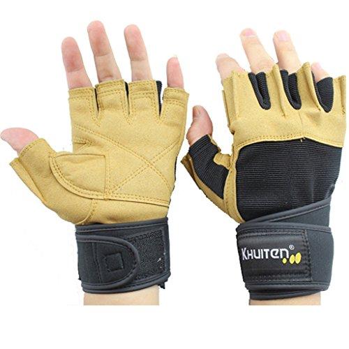 guanti di sport dei guanti di forma fisica degli uomini caldi di attrezzature per l'allenamento manubrio barra orizzontale mezze dita estensione guanti da polso ( dimensioni : L. )