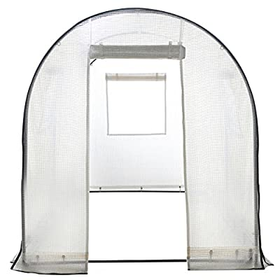 Abba Patio Walk in Greenhouse Fully Enclosed Lawn and Garden Portable Outdoor Tent with Windows, 6x6.6x8 Ft, White