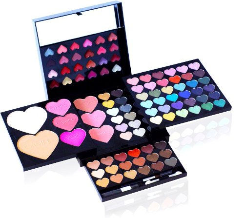 Shany © 100pc Makeup Kit Heart and Kisses - Eyeshades, Blush, Lipgloss -Cameo Collection