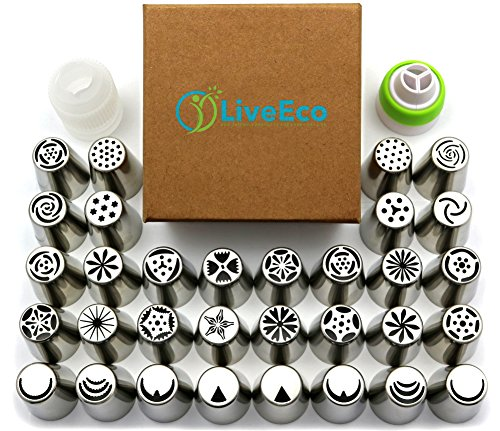 LiveEco Professional Russian Piping Tips 42-Piece Set | For Cake and Cupcake Icing Decorating | Includes Piping Bags + Couplers | Online Instructional Videos, Frosting Recipe & PDF Directions Included
