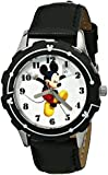 Disney Kids' W001592 Mickey Mouse Stainless Steel and Black Leather Strap Watch