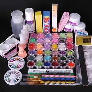 Amazon Com 350buy 36 Acrylic Powder Liquid Kits Primer Uv Nail Art Tip Set Dust Stickers Brush