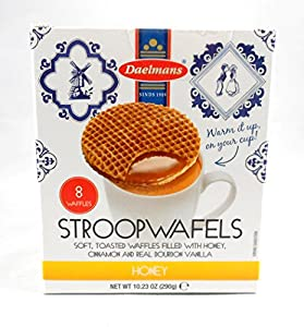 Daelmans Dutch Stroopwafels Wafers Filled with HONEY, Cinnamon, and Real Bourbon Vanilla 10.94 Oz. Gift Box