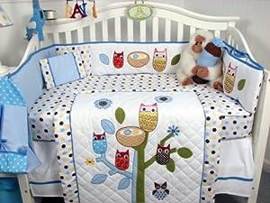13 Piece Blue Owl Crib Bedding Set for Boys by SoHo Designs