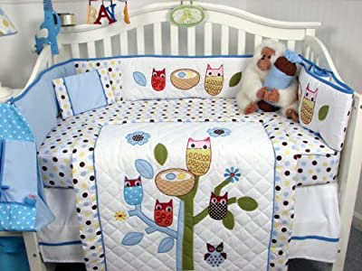 13 PieceBlue Owl Crib Bedding Set for Boys