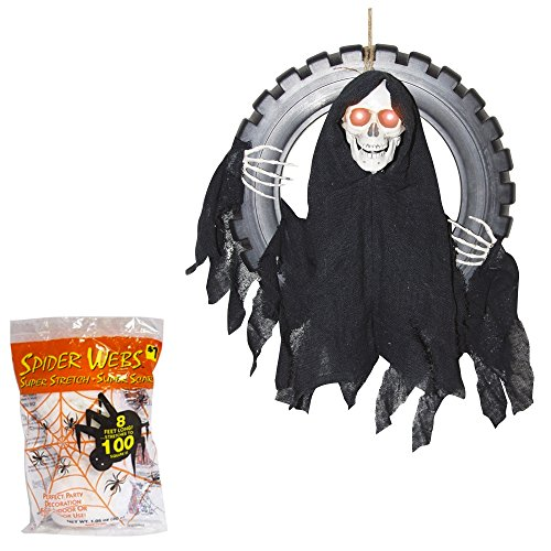 [Halloween Decorations Animated Reaper | Outdoor Sound Activated Prop | 16 Inches with Spider Webbing] (Black Spider Animated Prop)