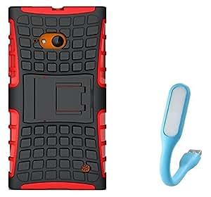 Chevron Hybrid Military Grade Dual Armor Kick Stand Back Cover Case for Nokia Lumia 730 With Mini USB LED Light Lamp (Red)