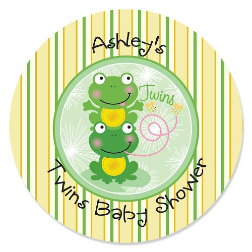 Twin Froggy Frogs - 24 Round Personalized Baby Shower Sticker Labels front-796958