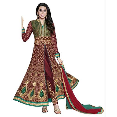 Ustaad Ethnic Georgette Embroidery Maroon Bollywood Indian Wedding Anarkali Suit