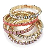 5 Pink Tone Crystal Stretch Gold Bracelets AJ27129