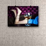 ArtzFolio A glass of white wine - sexy womens legs in the background Canvas Art Print without Frame - Size 53.2 inch x 35.5 inch