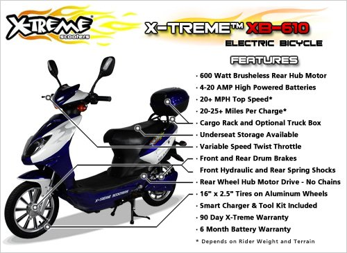 X-Treme Scooters XB-610 Electric 600 Watt Variable Speed Bicycle
