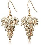 ANDI ROSE Fashion Jewelry Women Gold Plated Hook Full Rhinestones Crystal Leaves Earrings