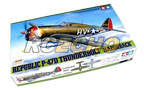 RCECHO® Tamiya Aircraft Model 1/48 Airplane Republic P-47D Thunderbolt RAZORBACK 61086 with RCECHO® Full Version Apps Edition