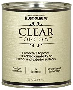 Rust-Oleum Metallic Accents 253613 Decorative 32-Ounce Quart Water Based One Part Metallic Finish Paint, Satin Clear