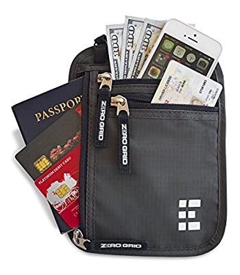Zero Grid Neck Pouch w/ RFID Blocking 2 in 1 Passport Holder & Travel Wallet