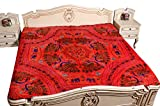 Indian Traditional Ethnic Tapestry Peacock Red & Blue Thread Embroidery Bedspread Bed Cover 90x108 Inches