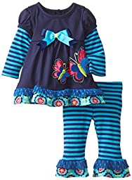 Rare Editions Baby Baby-Girls Newborn Navy Butterfly Applique Legging Set, Navy/Turquoise, 9 Months