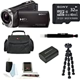 Sony HDR-CX330 HDR-CX330/B CX330 Full HD Handycam Camcorder (Black) + Sony 32GB Class 10 Micro SD Card + Soft Shell Camera Gadget Bag + Focus 5 Piece Digital Camera Accessory Kit + Accessory Kit