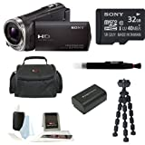 Sony HDR-CX330/B Full HD Handycam Camcorder (Black) + Sony 32GB Class 10 Micro SD Card + Medium Case + Focus 5 Piece Digital Camera Accessory Kit + Accessory Kit