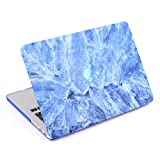 "COSMOS Rubberized Plastic Hard Shell Cover Case for MacBook Pro 13.3"" with Retina Display (Model No.A1502 / A1425), Light Blue Marble Pattern"