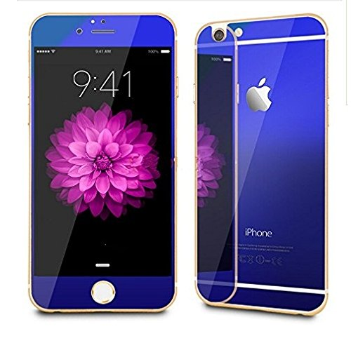 TechnoTrendZ Imported Premium Crystal Clear HD Coloured Electroplated Color-Brushed Royal Blue Metallic Mirror Reflection Shock Resistant for Apple iPhone 6 Plus +,6S Plus
