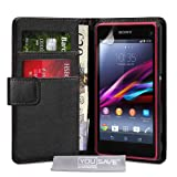 Yousave Accessories PU Leather Wallet Case Cover for Sony Xperia Z1 Compact - Black