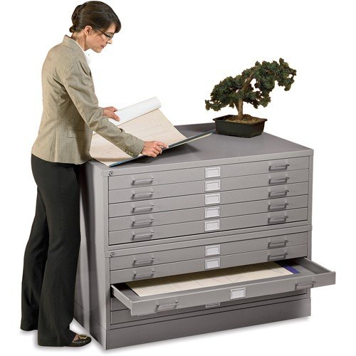 """Edsal Closed Base For Five-Drawer Steel Flat Files - Fits 46-3/4""""Wx35-3/8""""D Files - Light Gray"""
