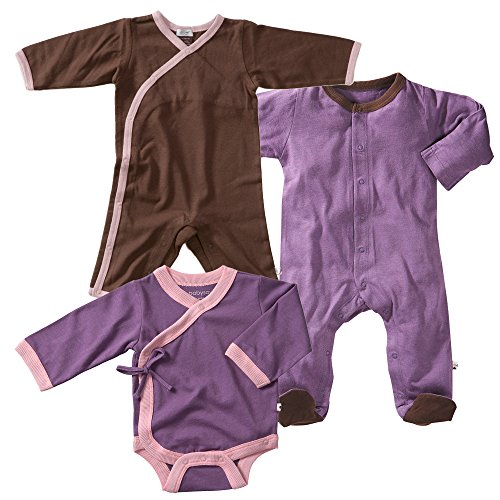 Babysoy Soy Soft Long Sleeve Kimono Bodysuit, Footie And Onepiece Set In Eggplant (3-6M) back-548884