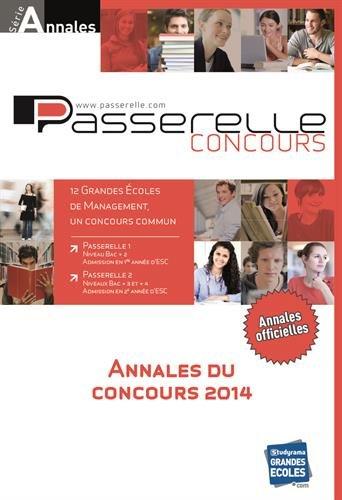 Annales Passerelle ESC, concours 2014 : sujets et corrigés officiels